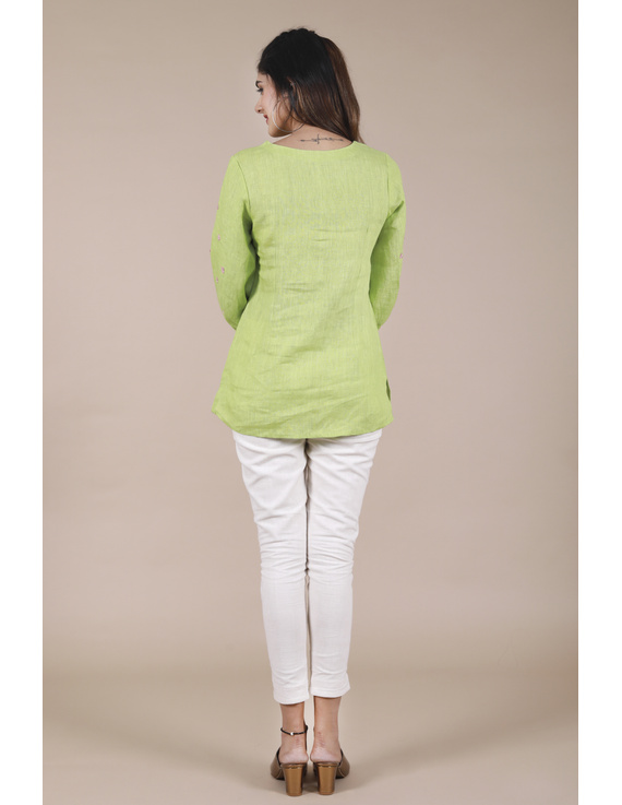 LIGHT GREEN EMBROIDERED PLACKET TUNIC IN PURE LINEN: LT130B-S-3