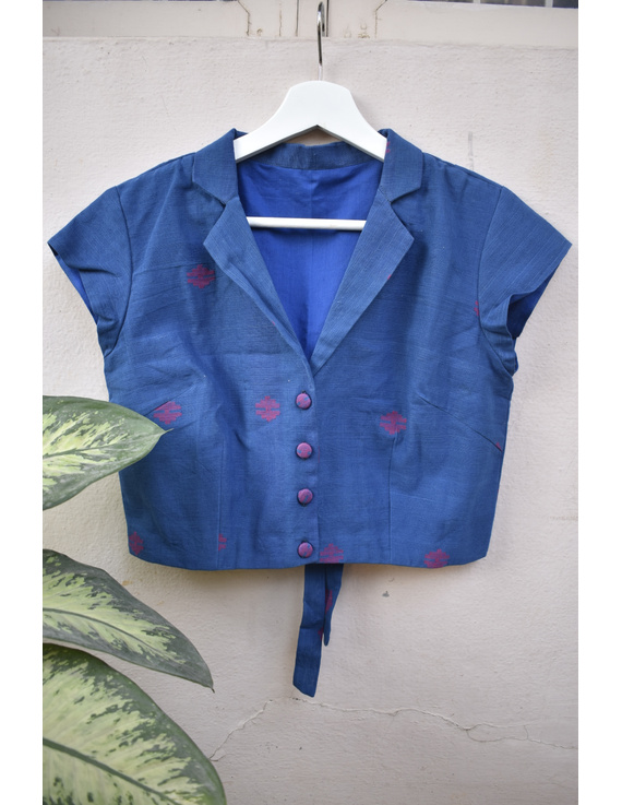 Indigo blue blouse in jamdani khadi cotton with a pleat and ties at back: RB08B-RB08B
