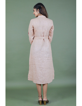 Bloom' hand embroidered pure linen dress in vintage rose pink : LD690A-M-1-sm