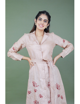 Bloom' hand embroidered pure linen dress in vintage rose pink : LD690A-M-2-sm