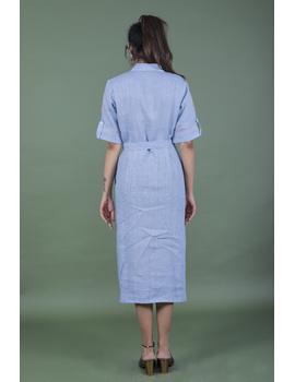Linen hand embroidered collar dress in aqua blue:LD700A-S-4-sm