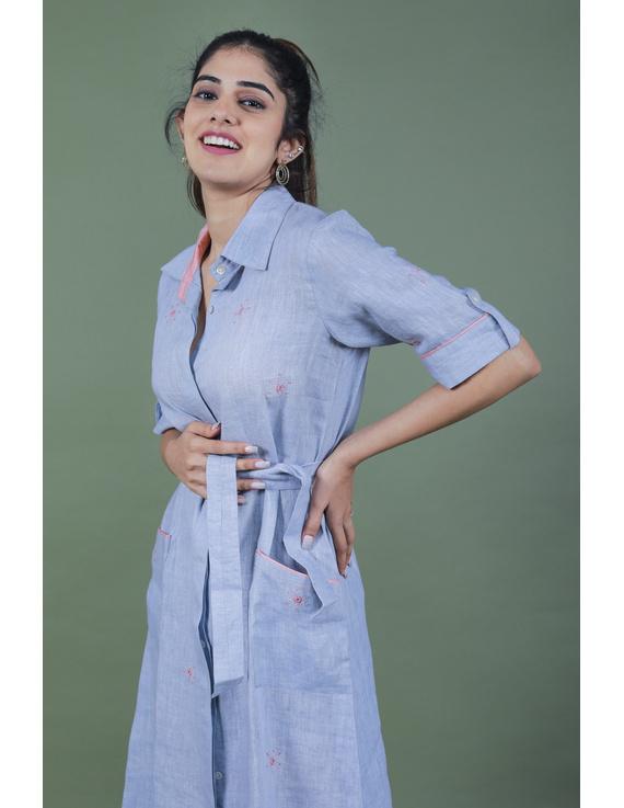 Linen hand embroidered collar dress in aqua blue:LD700A-S-3