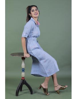 Linen hand embroidered collar dress in aqua blue:LD700A-S-1-sm
