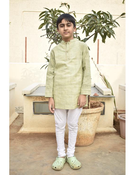 Boys short kurta in pista green mangalagiri cotton with handwork : KBK100A-KBK100AS