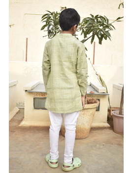 Boys short kurta in pista green mangalagiri cotton with handwork : KBK100A-6-7-2-sm