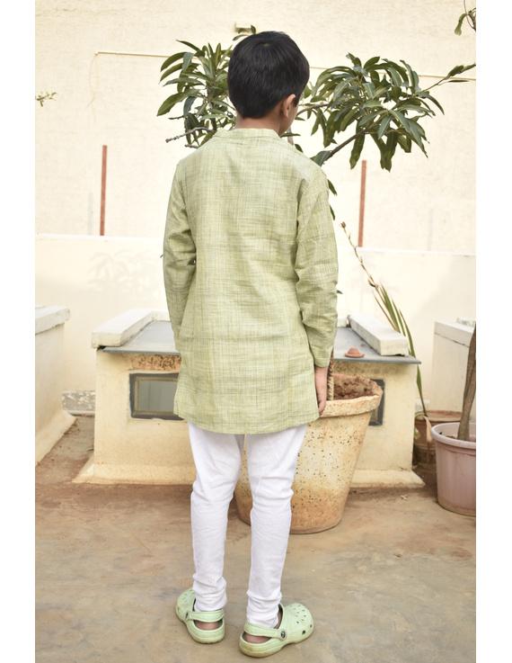 Boys short kurta in pista green mangalagiri cotton with handwork : KBK100A-6-7-2