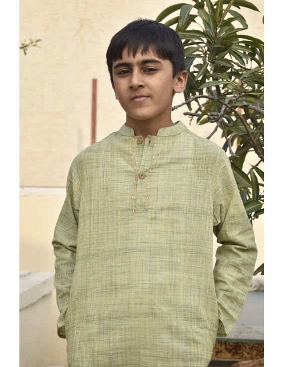 Boys short kurta in pista green mangalagiri cotton with handwork : KBK100A-13-15-2