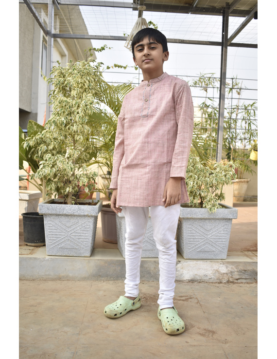 Boys short kurta in light pink mangalagiri cotton with handwork : KBK100B-KBK100BCL