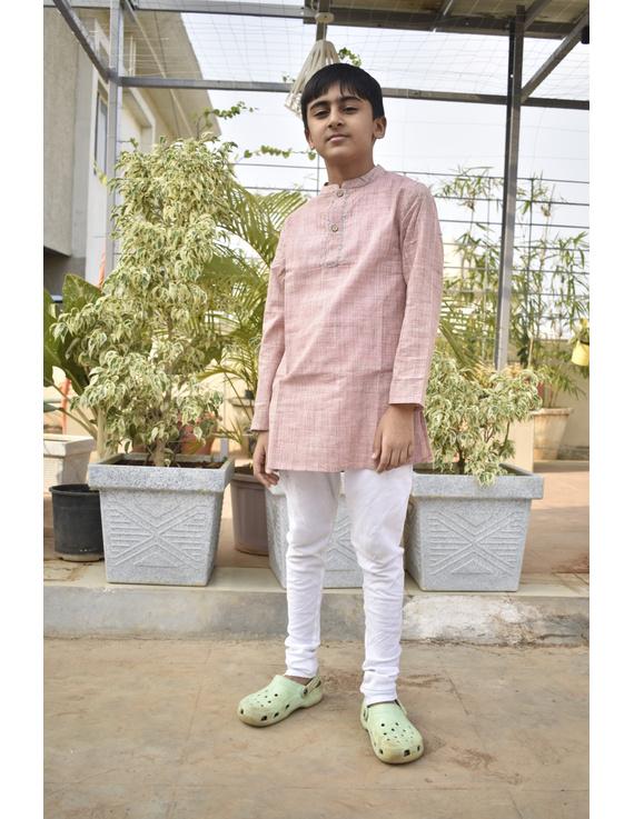 Boys short kurta in light pink mangalagiri cotton with handwork : KBK100B-8-9-1
