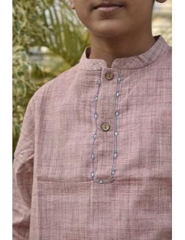 Boys short kurta in light pink mangalagiri cotton with handwork : KBK100B-8-9-2-sm