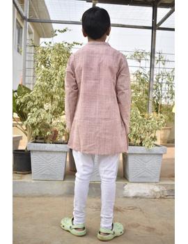 Boys short kurta in light pink mangalagiri cotton with handwork : KBK100B-KBK100BM-sm