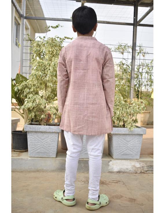 Boys short kurta in light pink mangalagiri cotton with handwork : KBK100B-KBK100BM