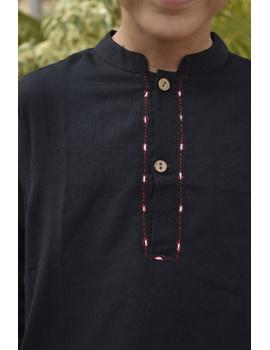 Boys short kurta in black mangalagiri cotton with handwork : KBK100C-8-9-2-sm
