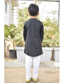Boys short kurta in black mangalagiri cotton with handwork : KBK100C-8-9-3-sm