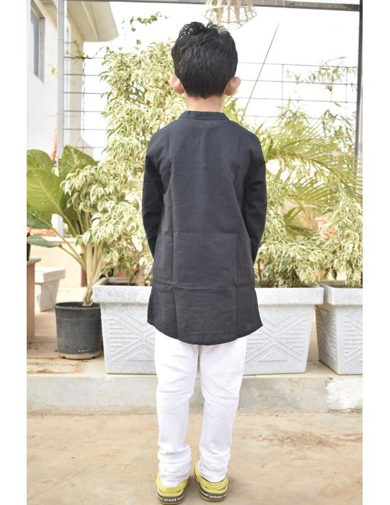 Boys short kurta in black mangalagiri cotton with handwork : KBK100C-8-9-3