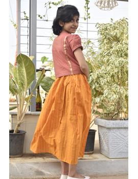 Girls orange and gold mangalagiri cotton lehenga set : KGL100A-KGL100AS-sm