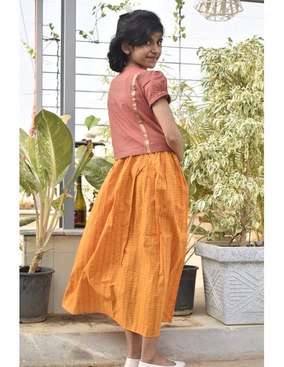 Girls orange and gold mangalagiri cotton lehenga set : KGL100A-KGL100AS