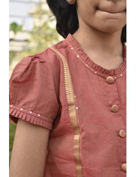 Girls orange and gold mangalagiri cotton lehenga set : KGL100A-4-5-1-sm