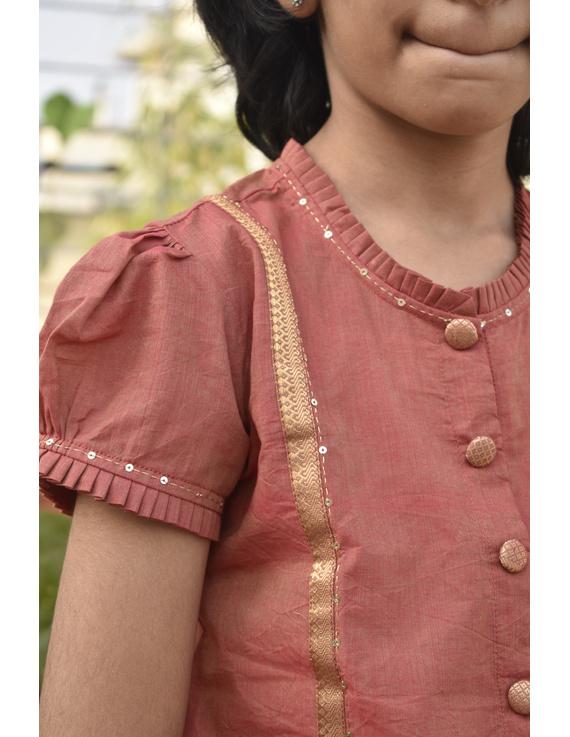 Girls orange and gold mangalagiri cotton lehenga set : KGL100A-4-5-1