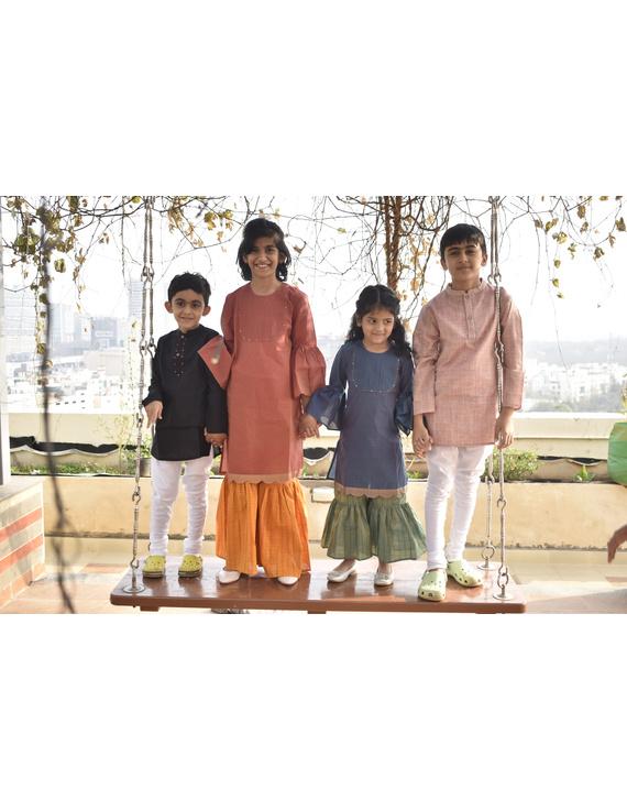 Girls orange and gold mangalagiri cotton sharara with tunic top : KGS100A-10-11-3