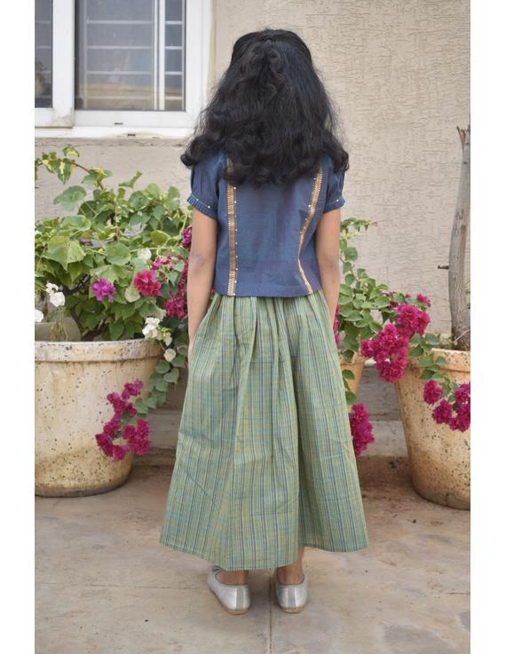 Girls blue and gold mangalagiri cotton lehenga set : KGL100B-4-5-2