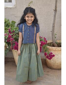 Girls blue and gold mangalagiri cotton lehenga set : KGL100B-4-5-1-sm