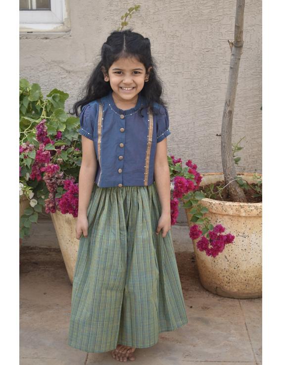 Girls blue and gold mangalagiri cotton lehenga set : KGL100B-4-5-1