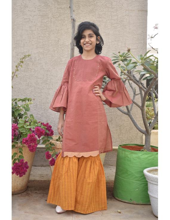 Girls orange and gold mangalagiri cotton sharara with tunic top : KGS100A-KGS100A