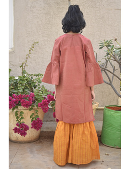 Girls orange and gold mangalagiri cotton sharara with tunic top : KGS100A-2-3-1-sm