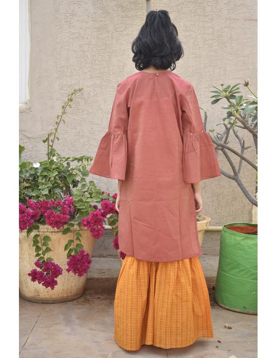 Girls orange and gold mangalagiri cotton sharara with tunic top : KGS100A-2-3-1