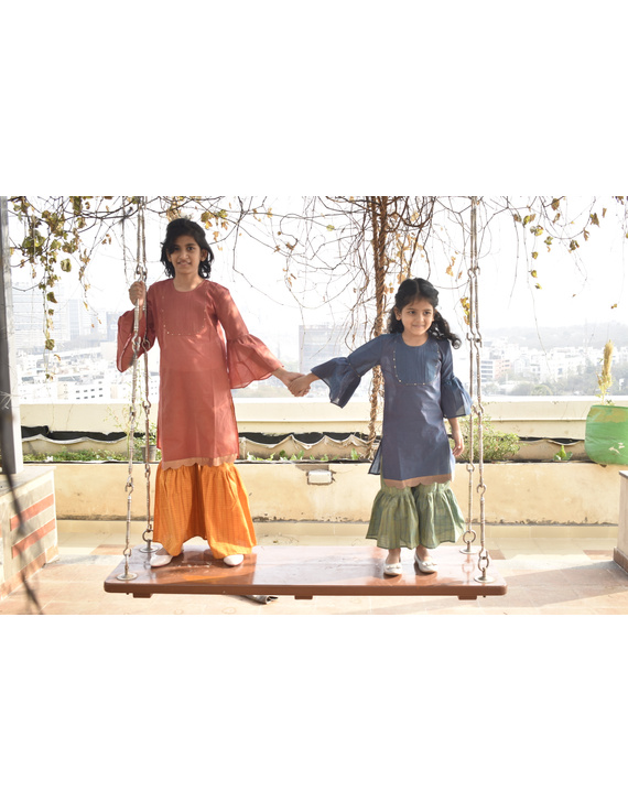 Girls orange and gold mangalagiri cotton sharara with tunic top : KGS100A-2-3-2