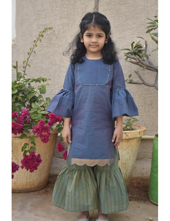 Girls blue and gold mangalagiri cotton sharara with tunic top : KGS100B-KGS100B