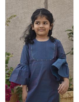 Girls blue and gold mangalagiri cotton sharara with tunic top : KGS100B-10-11-2-sm