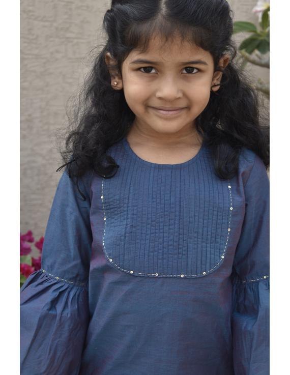 Girls blue and gold mangalagiri cotton sharara with tunic top : KGS100B-2-3-1
