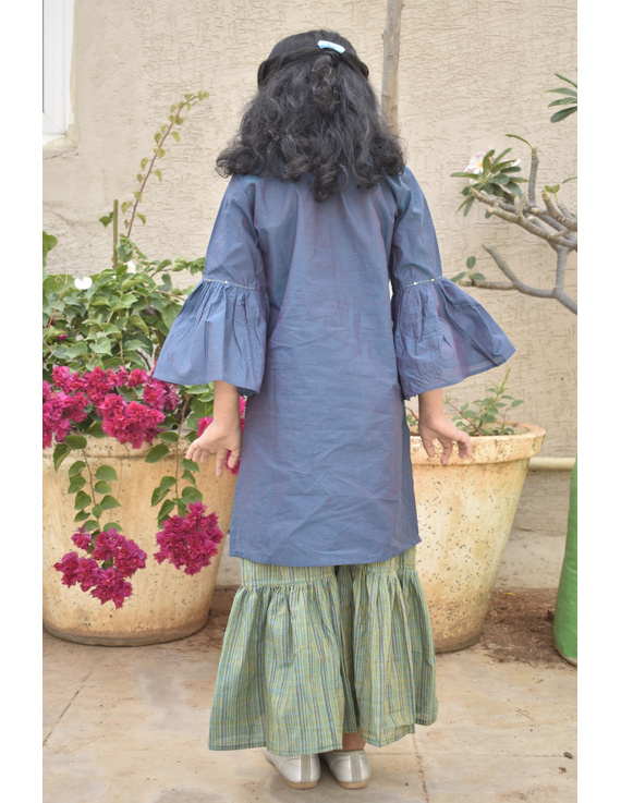 Girls blue and gold mangalagiri cotton sharara with tunic top : KGS100B-2-3-2
