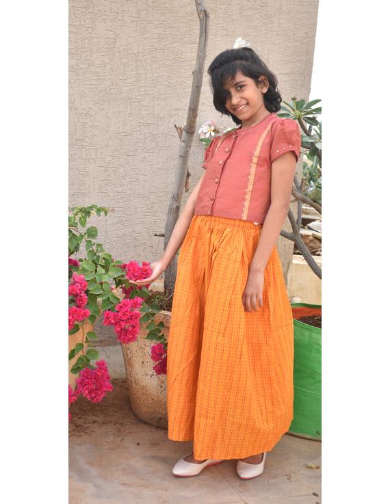 Girls orange and gold mangalagiri cotton lehenga set : KGL100A-4-5-2