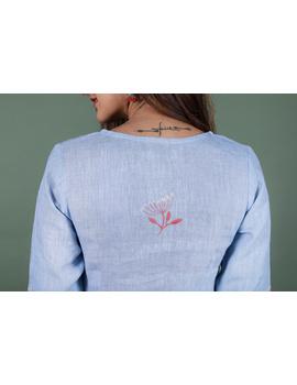Light blue dandelion motif embroidered kurta in pure linen-LK420A-XXXL-5-sm