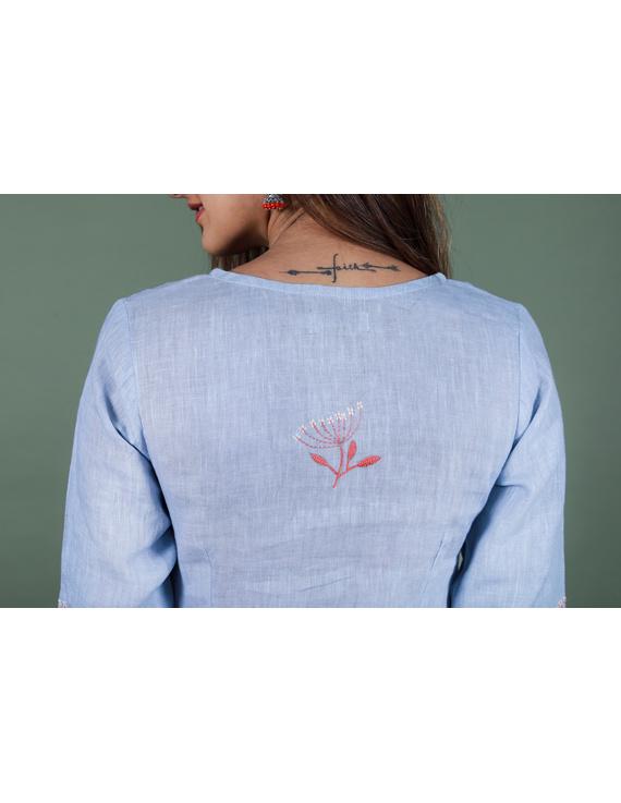 Light blue dandelion motif embroidered kurta in pure linen-LK420A-XXXL-5