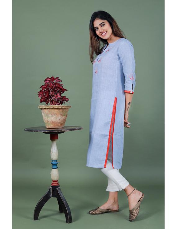 Light blue dandelion motif embroidered kurta in pure linen-LK420A-M-4