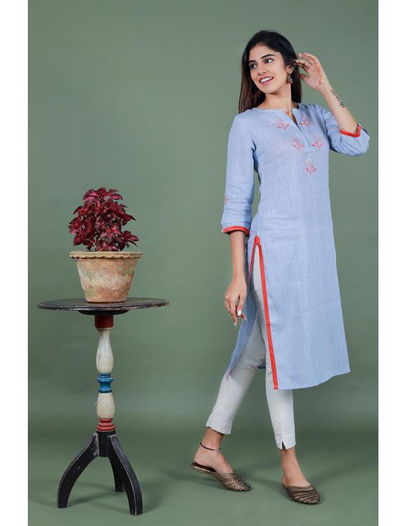 Light blue dandelion motif embroidered kurta in pure linen-LK420A-XXXL-3