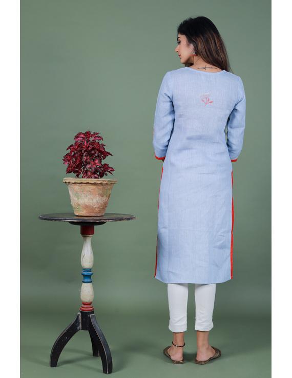Light blue dandelion motif embroidered kurta in pure linen-LK420A-LK420A-XXXLL