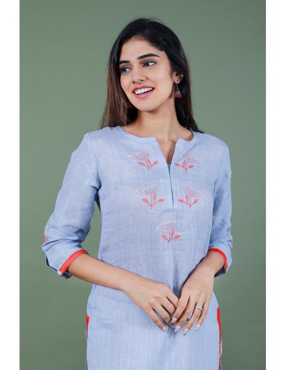 Light blue dandelion motif embroidered kurta in pure linen-LK420A-XXXL-1