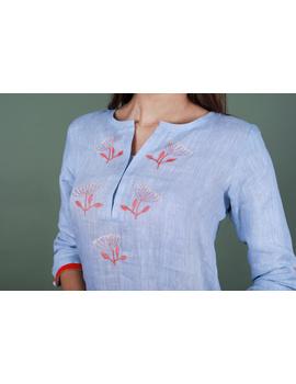 Light blue dandelion motif embroidered kurta in pure linen-LK420A-XXXL-2-sm