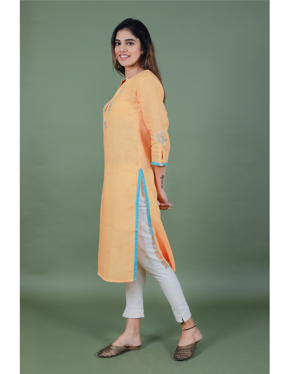 Yellow dandelion motif embroidered kurta in pure linen-LK420B-XL-4