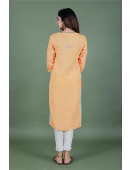 Yellow dandelion motif embroidered kurta in pure linen-LK420B-XL-3-sm