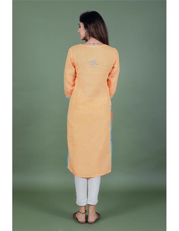 Yellow dandelion motif embroidered kurta in pure linen-LK420B-XL-3
