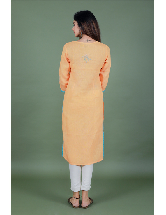 Yellow dandelion motif embroidered kurta in pure linen-LK420B-S-3