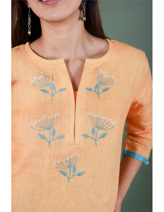 Yellow dandelion motif embroidered kurta in pure linen-LK420B-LK420B-SL