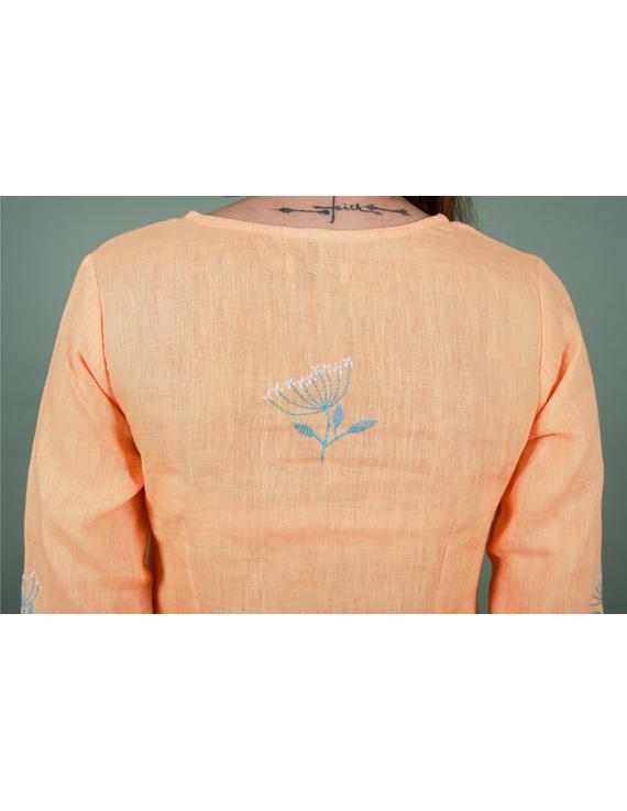 Yellow dandelion motif embroidered kurta in pure linen-LK420B-S-5