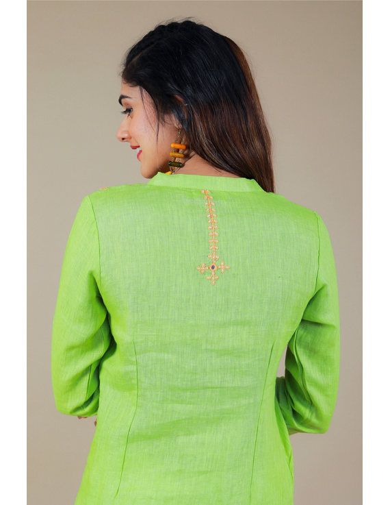 Banjara yoke kurta in mehendi green linen fabric-LK430B-S-4